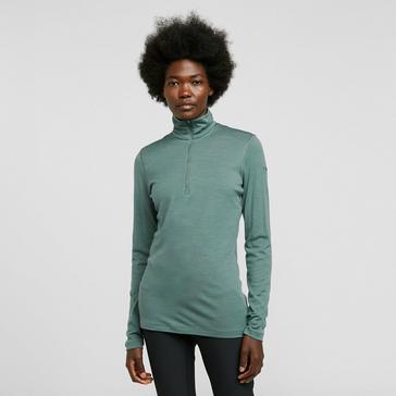 Green Icebreaker Women's Oasis 200 Long Sleeve Half Zip Crew