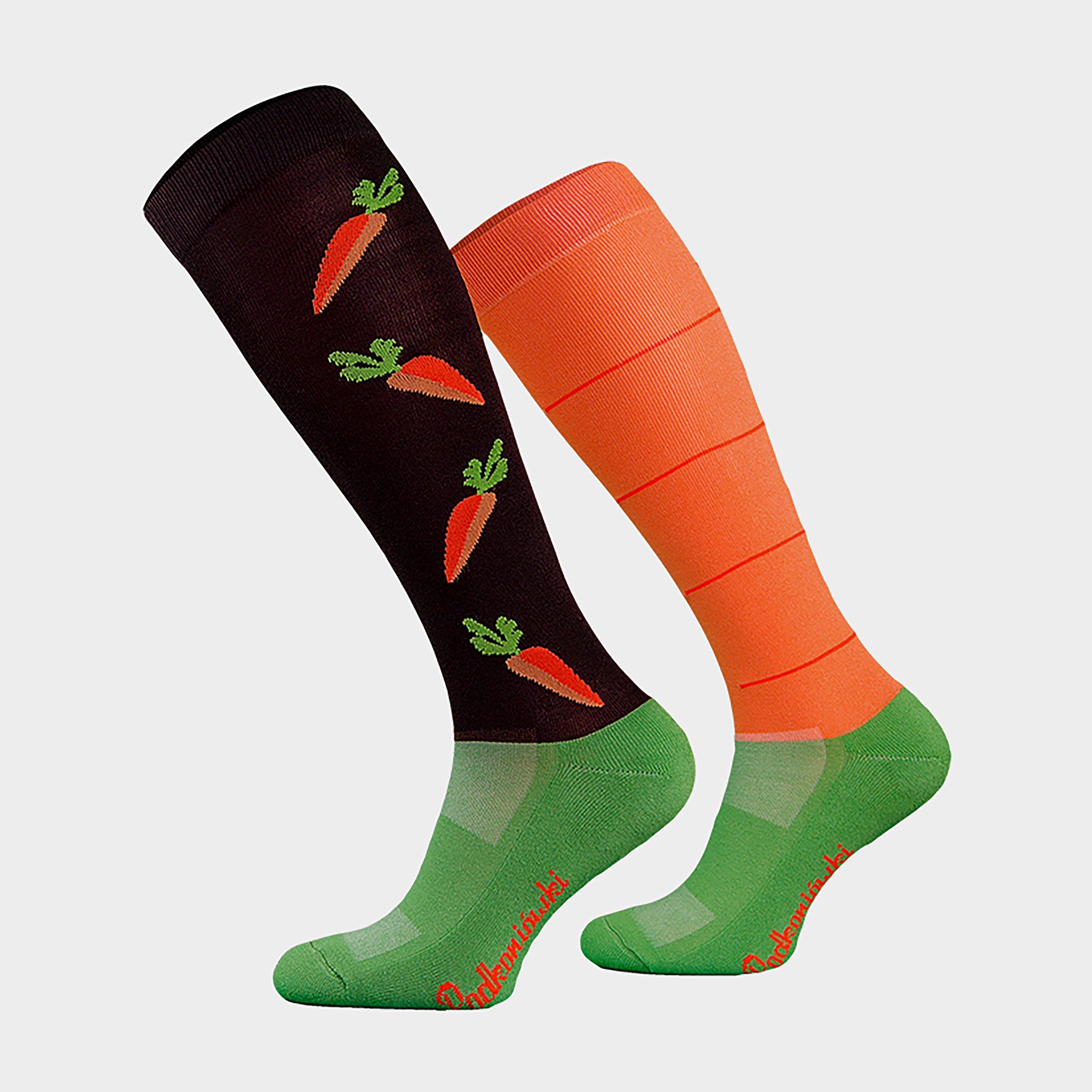 Image of Comodo Adults Novelty Fun Socks Carrots - Orange/Black, Orange/Black