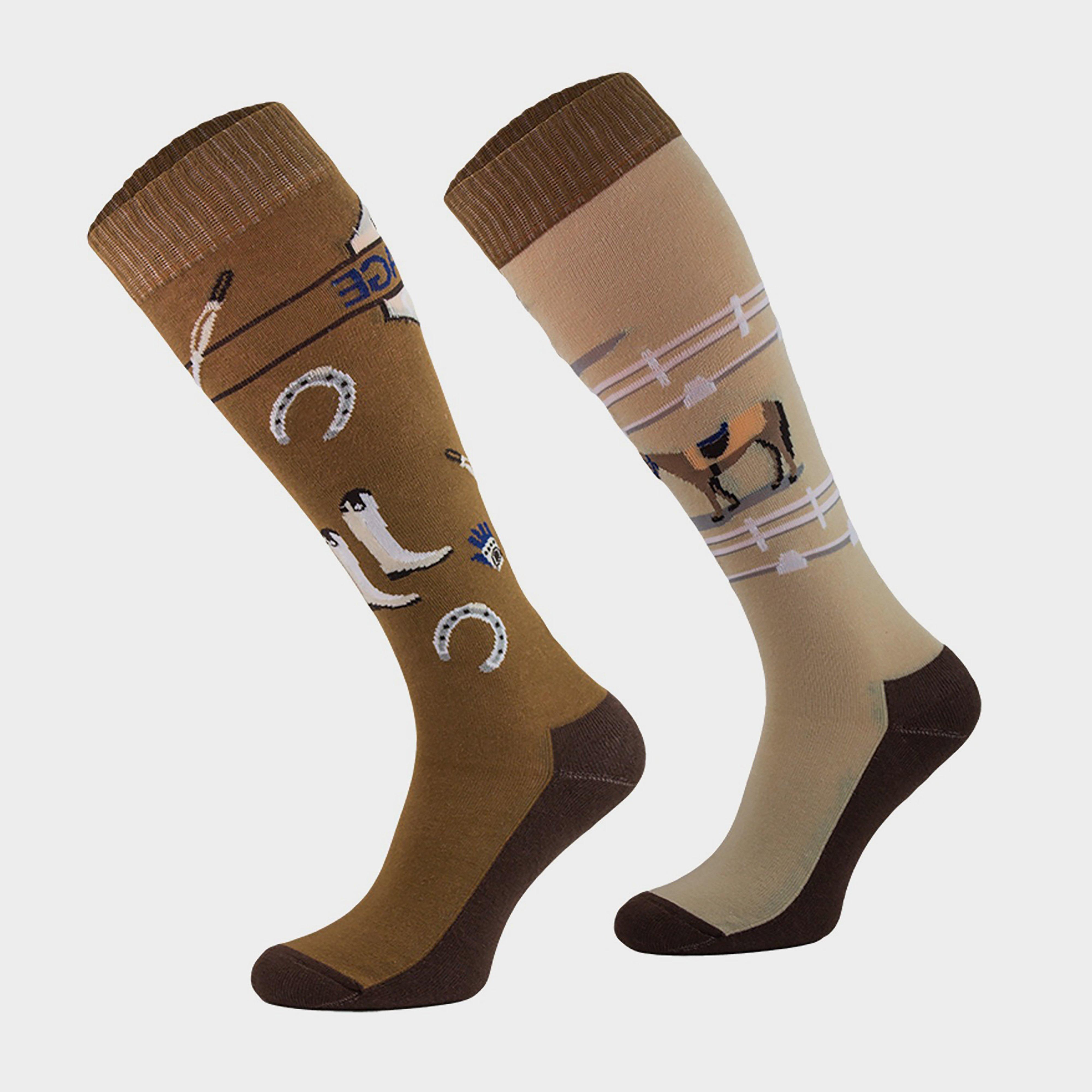 Image of Comodo Adults Novelty Fun Socks Dressage - Brown/Brown, Brown/BROWN