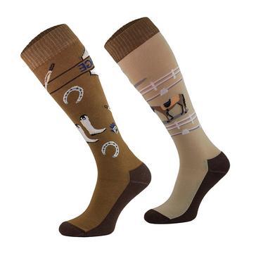 Brown COMODO Adults Novelty Fun Socks Dressage