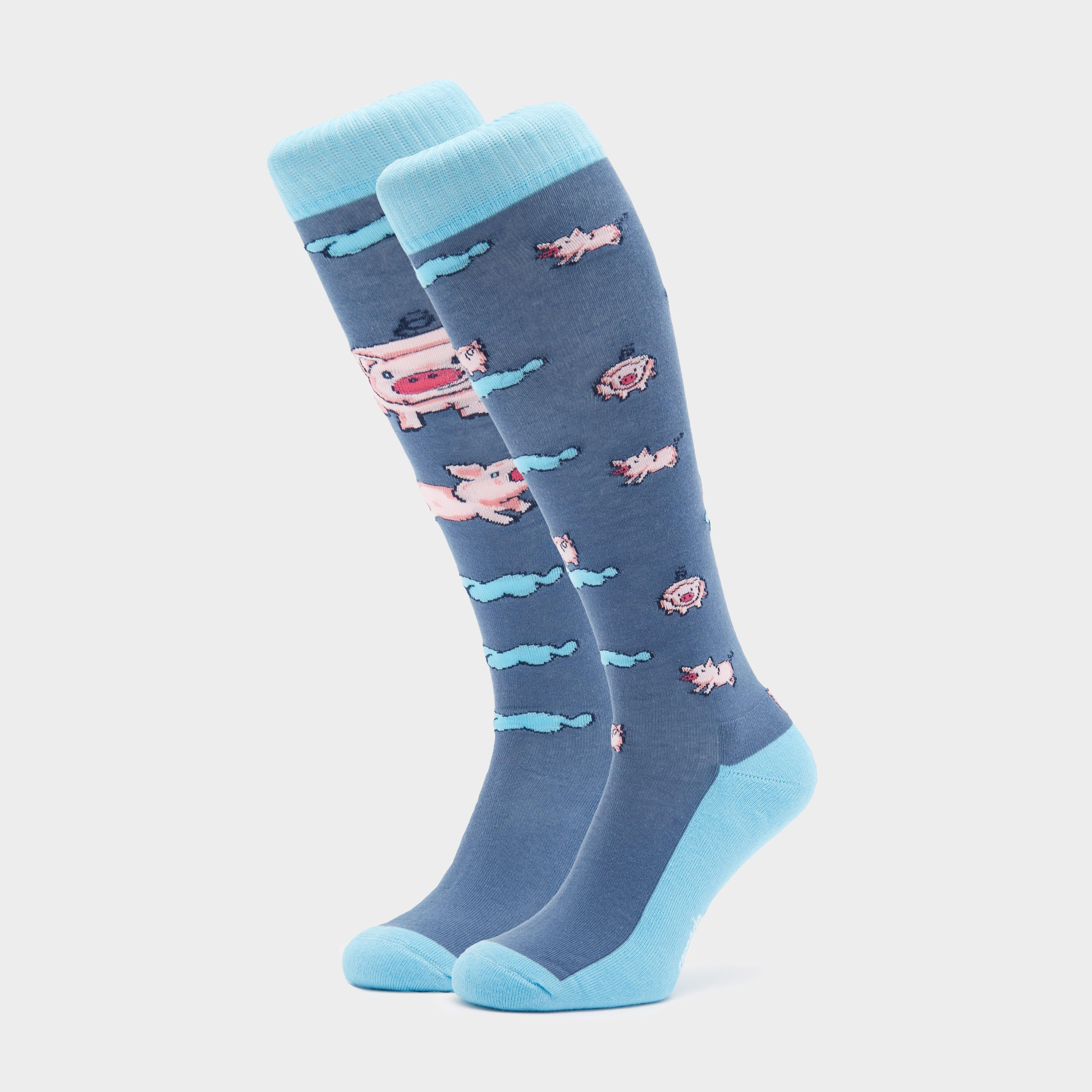 Image of Comodo Adults Novelty Fun Socks Pigs - Blue/Blue, Blue/BLUE
