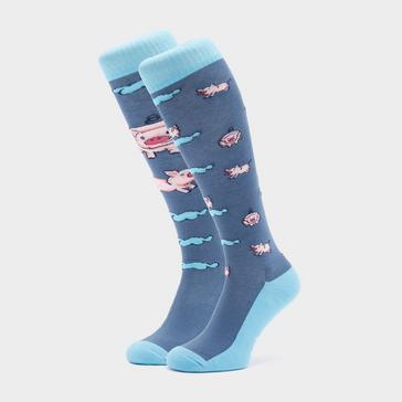 Blue COMODO Adults Novelty Fun Socks Pigs