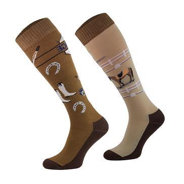 Brown COMODO Kids' Novelty Fun Socks Dressage