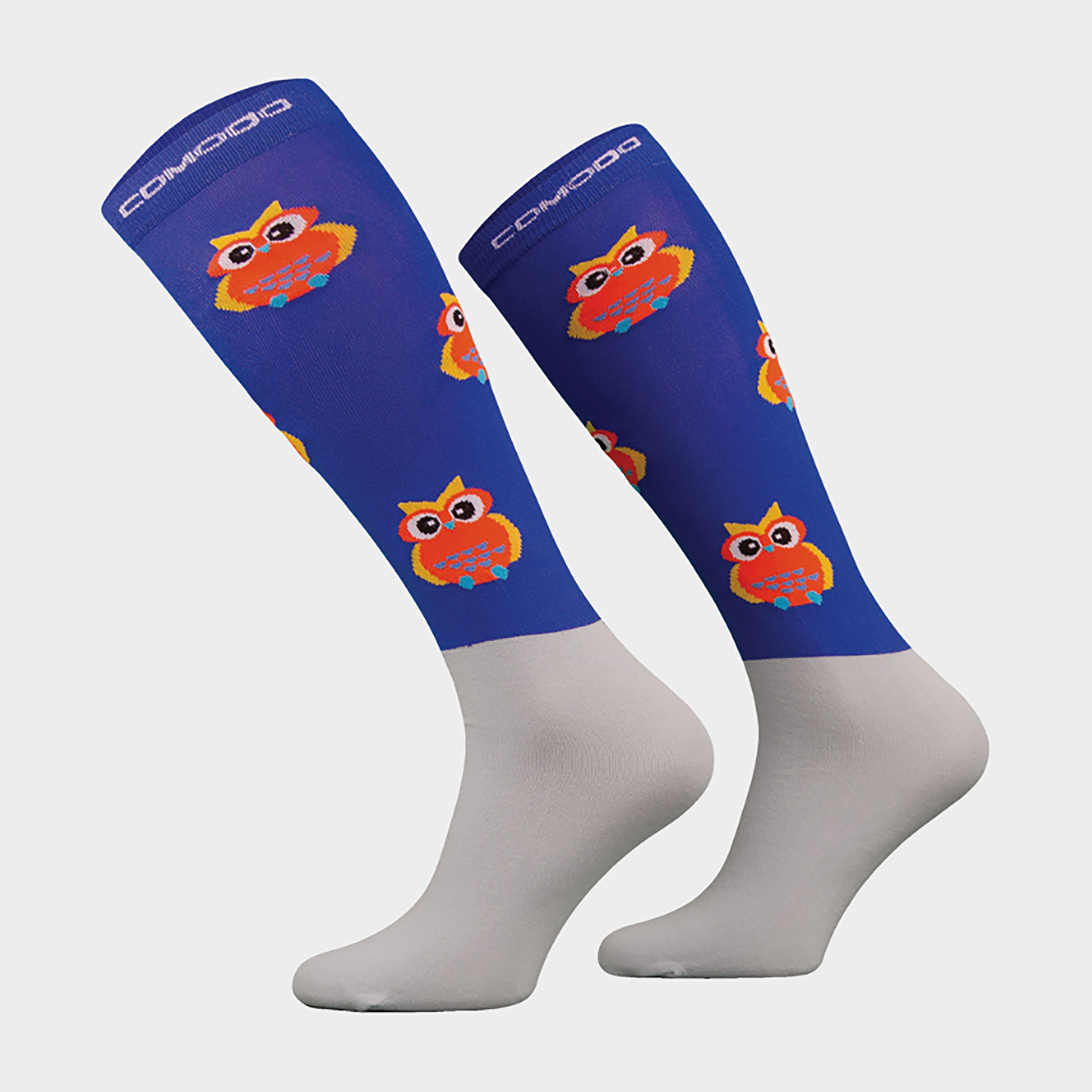 Image of Comodo Adults Microfibre Socks Royal Owl - Blue/Blue, Blue/BLUE