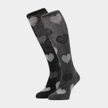 Black STORM BLOC Equestrian Kids Hearts Socks 2 (Pack)