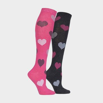Pink STORM BLOC Equestrian Kids Hearts Socks (2 Pack)