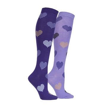 Purple STORM BLOC Equestrian Kids Hearts Socks (2 Pack)