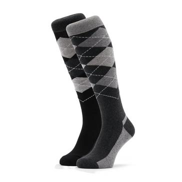 Black STORM BLOC Women's Ripon Argyle Socks (2 Pairs)