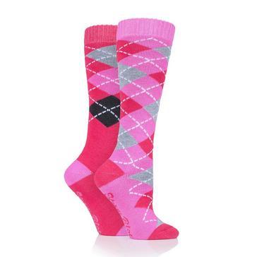 Pink STORM BLOC Women's Midweight Argyle Lingfield 2 Pack Socks