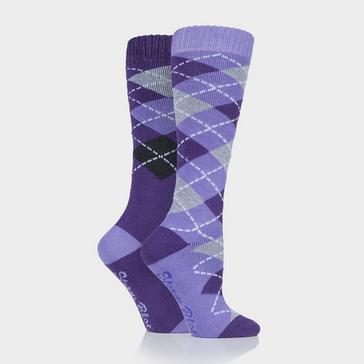 Purple STORM BLOC Women's Midweight Argyle Lingfield 2 Pack Socks