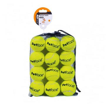 Green PETFACE 12 Pack Tennis Balls in Yellow