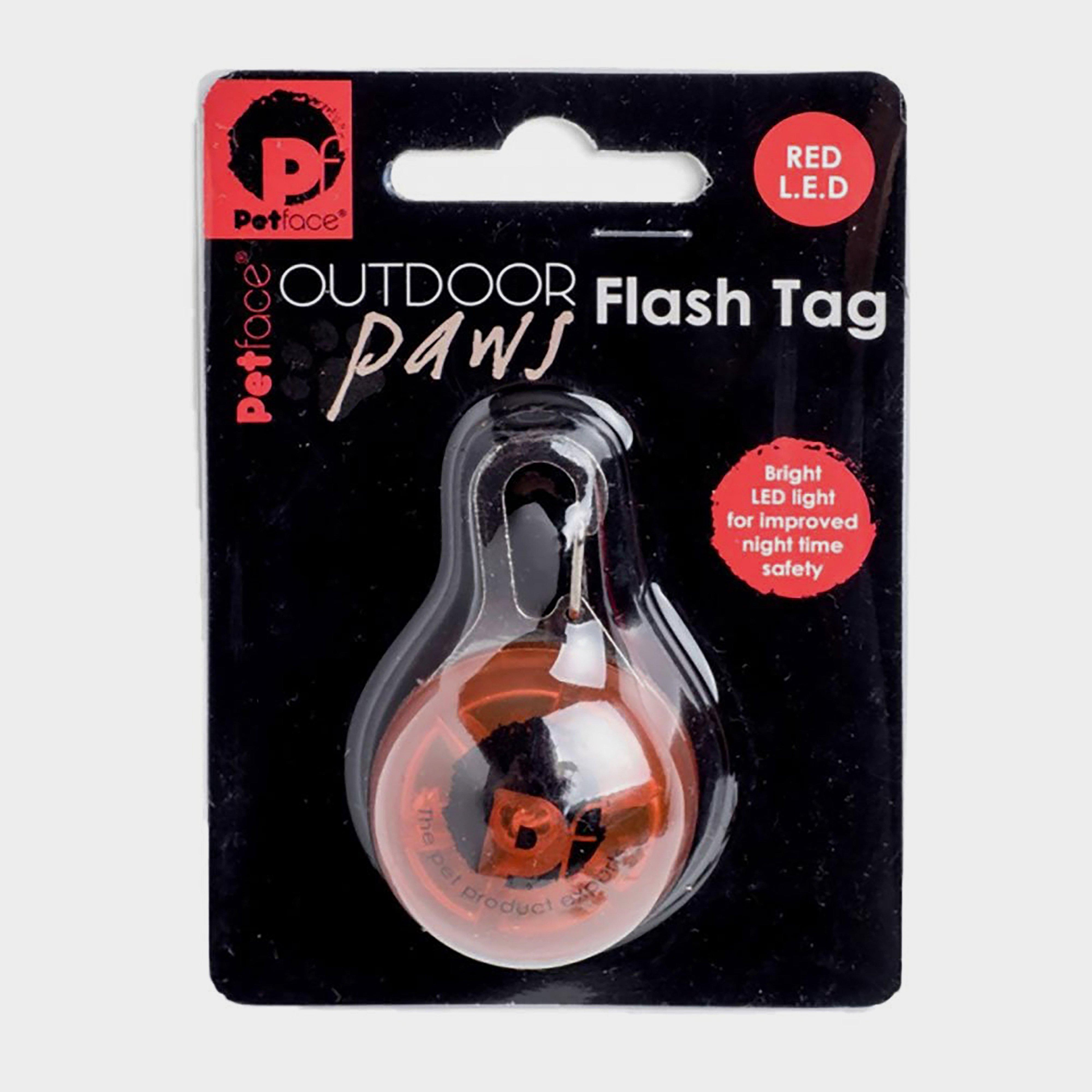 Image of Petface Outdoor Paws Flash Tag - Red/Red, RED/RED