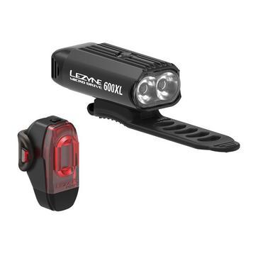 Black Lezyne Micro Drive 600XL and KTV Bike Light Pair