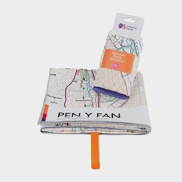 ORANGE Ordnance Survey Brecon Beacons Pen y Fan Large Towel