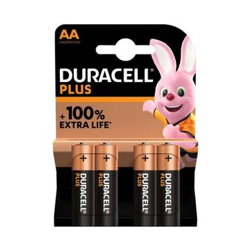 Black Duracell AA Plus Batteries (Pack of 4)