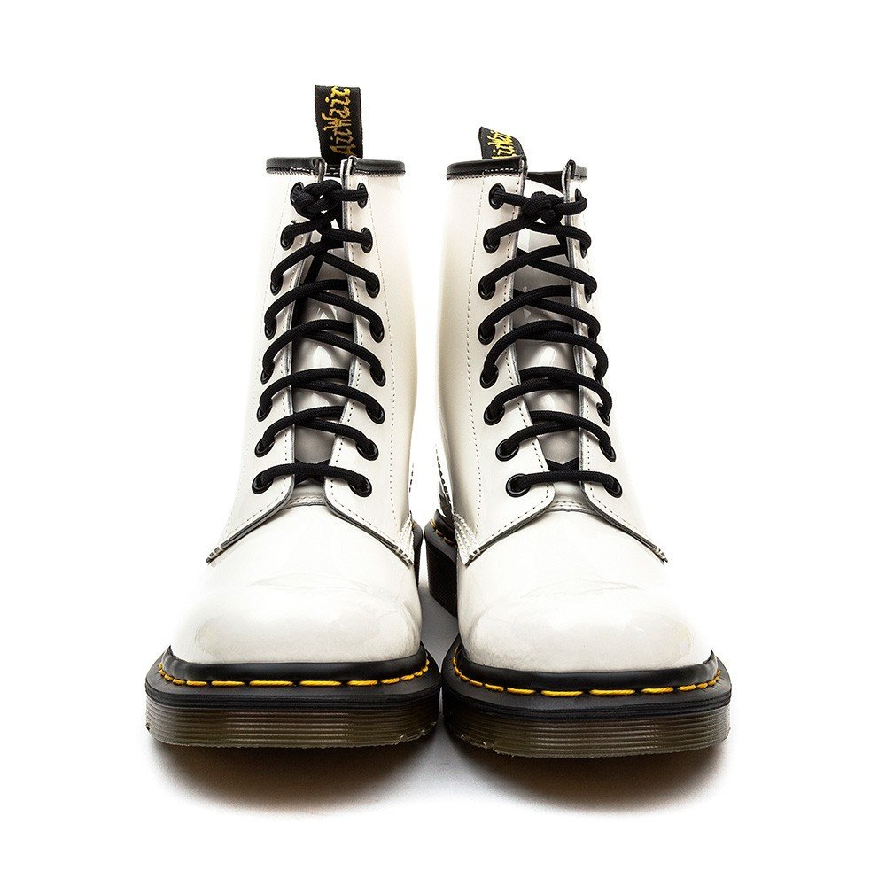 Dr Martens Women's 1460 Patent Leather High Top Boots - White