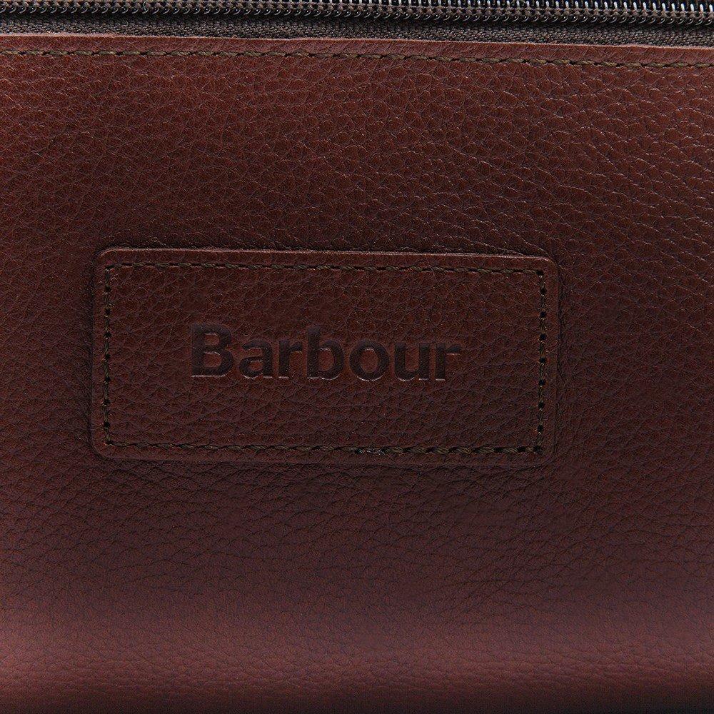 Barbour Leather Washbag - Dark