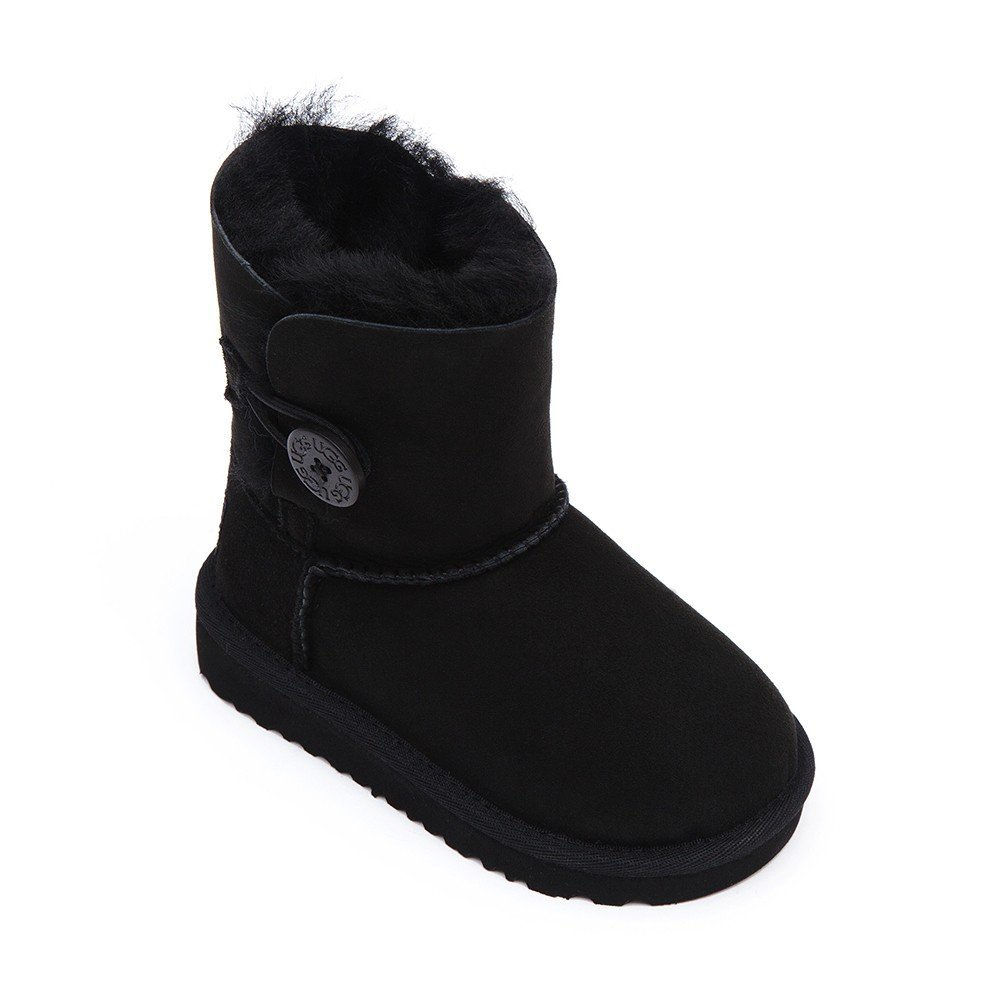 Ugg Infant Bailey Button Sheepskin Boots - Black