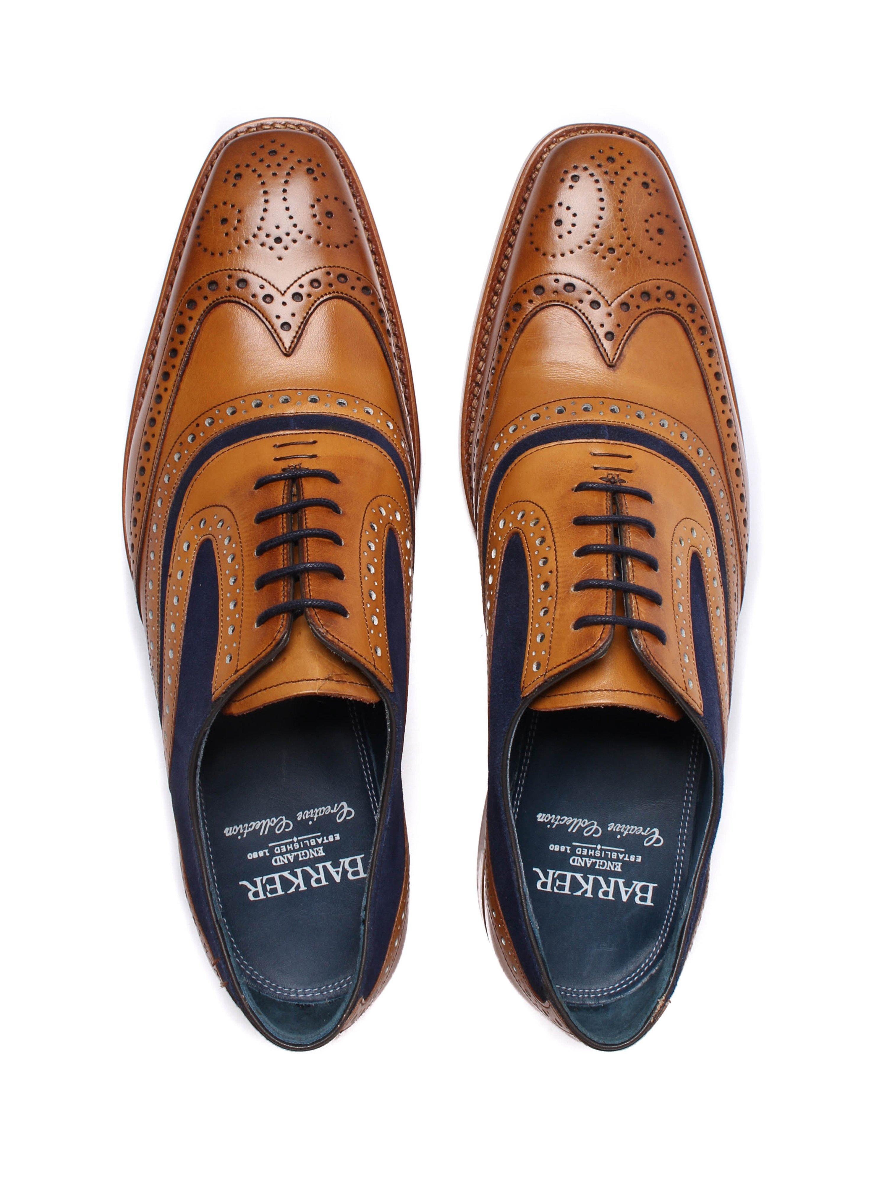 Barker Men's McClean Leather Oxford Brogues - Cedar & Navy