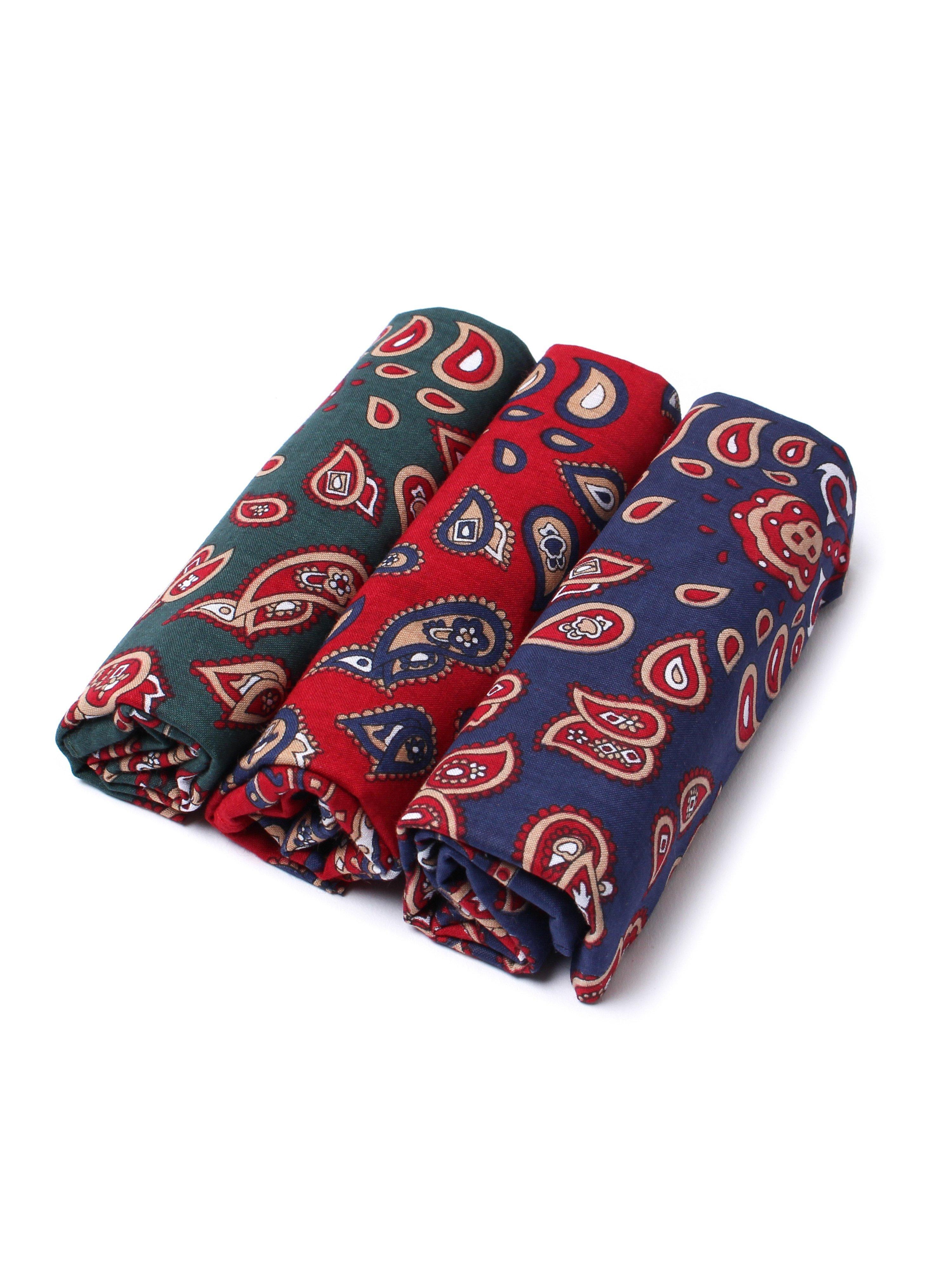 Barbour 3 Pack Paisley Cotton Handkerchiefs - Red, Blue & Green