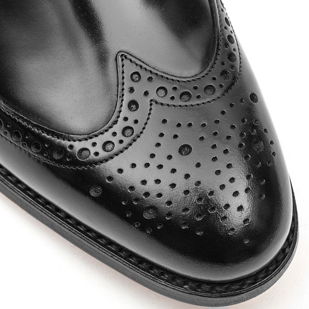 Barker Men's Woodbridge Leather Blucher Brogue - Black