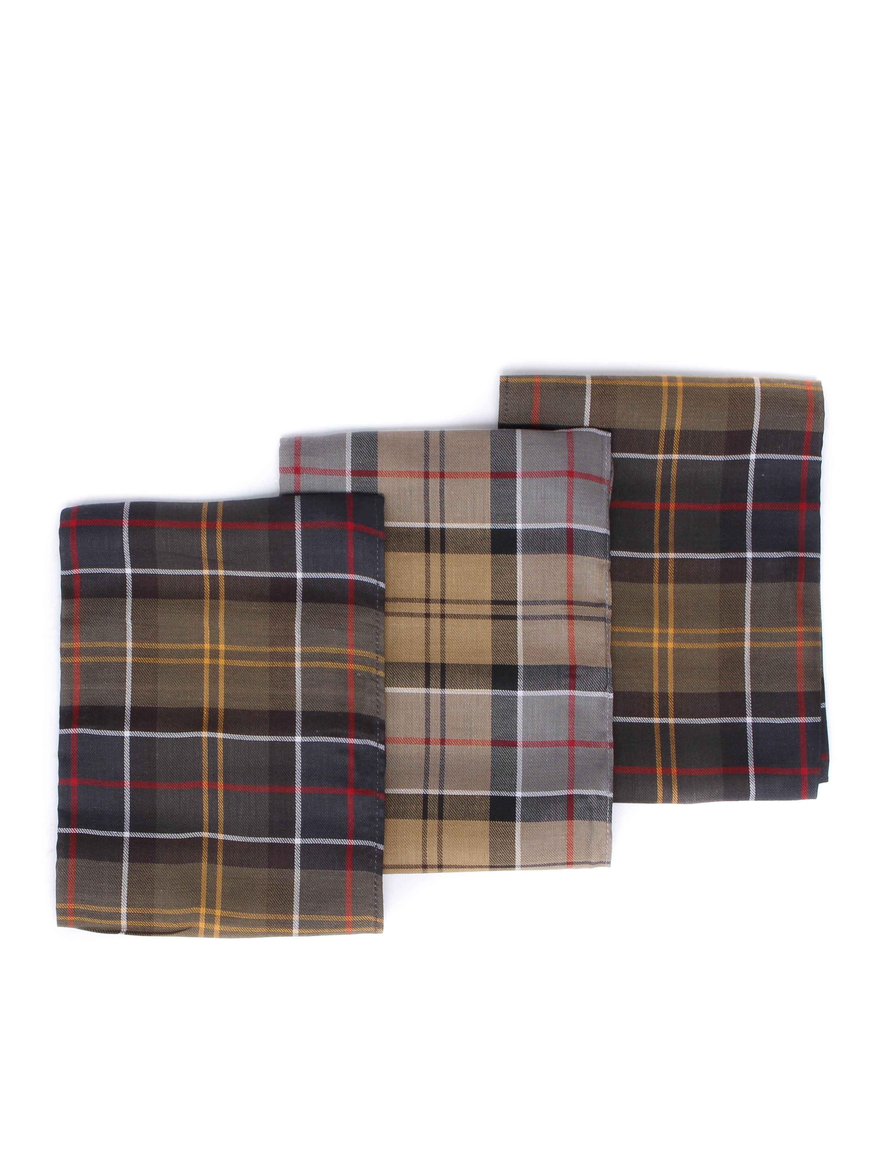 Barbour 3 Pack Tartan Cotton Pocket Squares