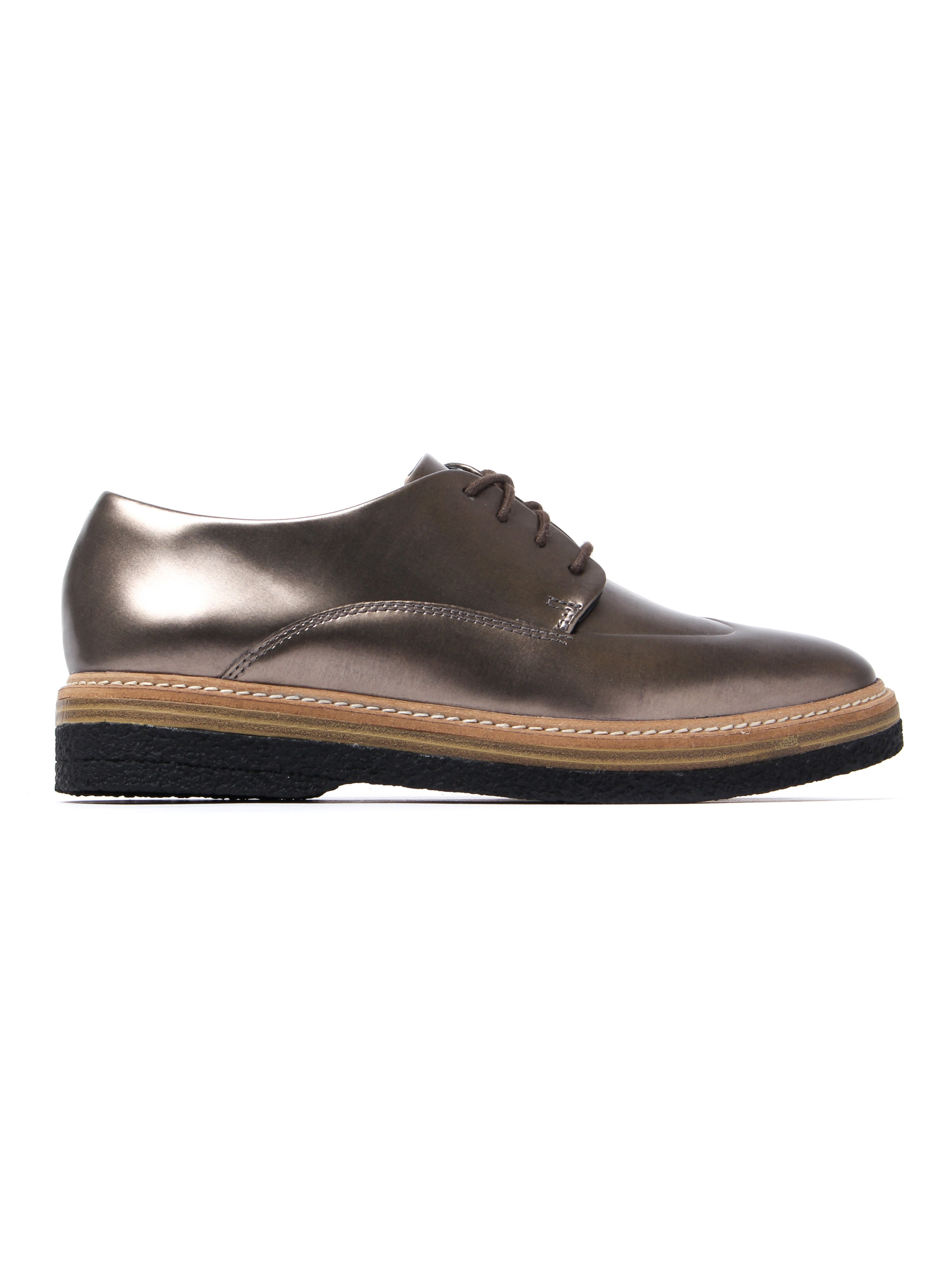 Clarks Women's Zante Zara Metallic Brogues - Pewter Leather