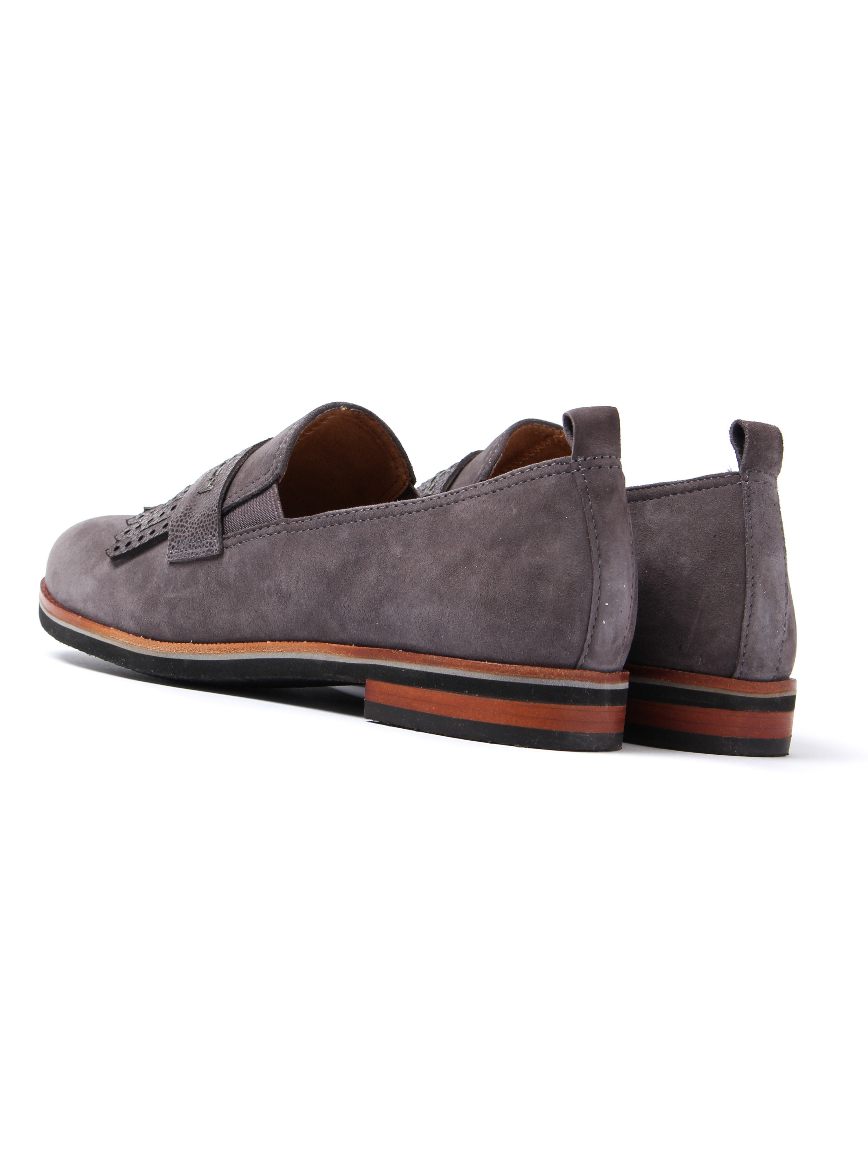 Caprice Women's Fringe Loafers - Grey Suede