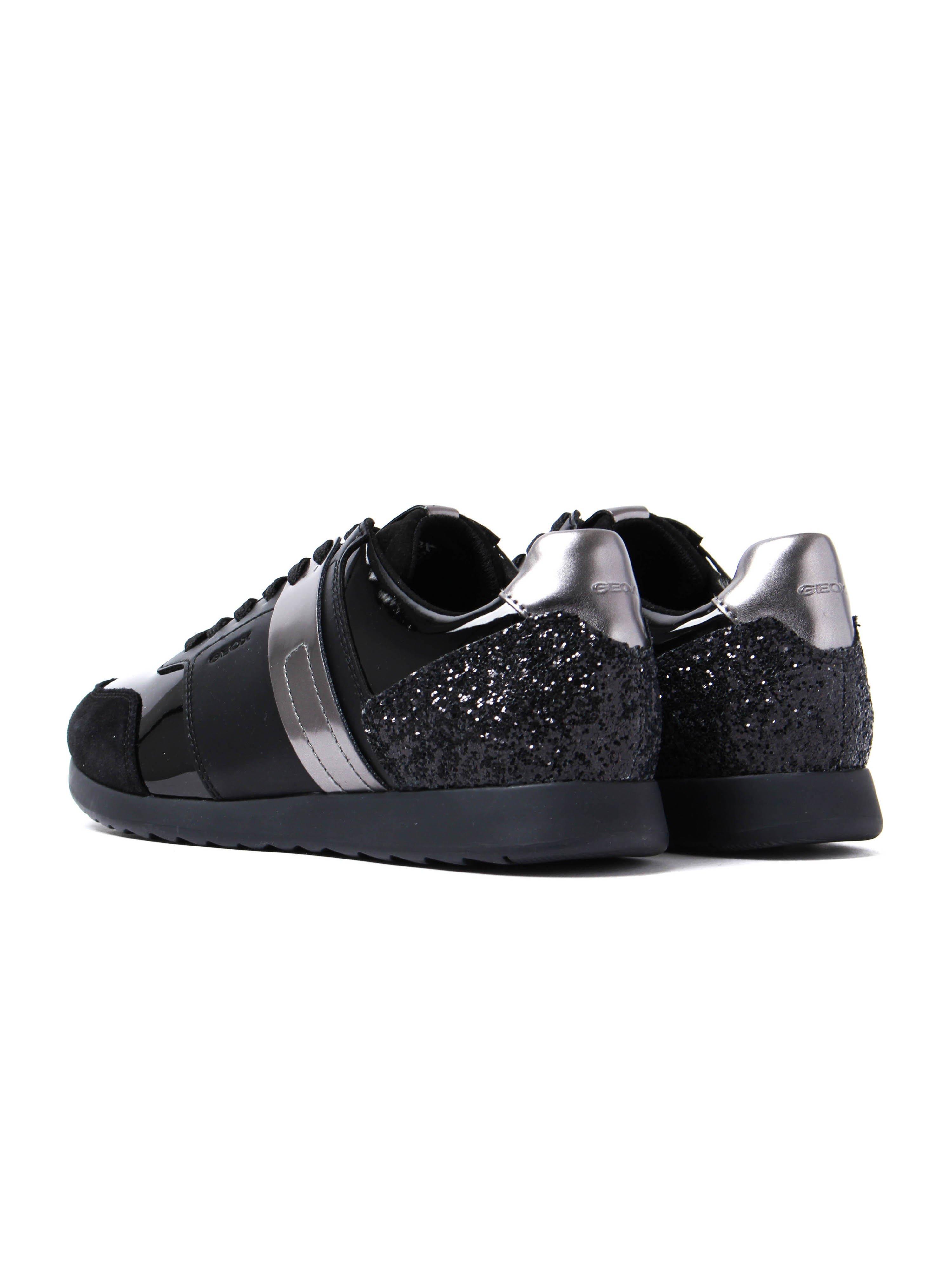 Geox Women's Deynna Glitter Leather Trainers - Black Patent