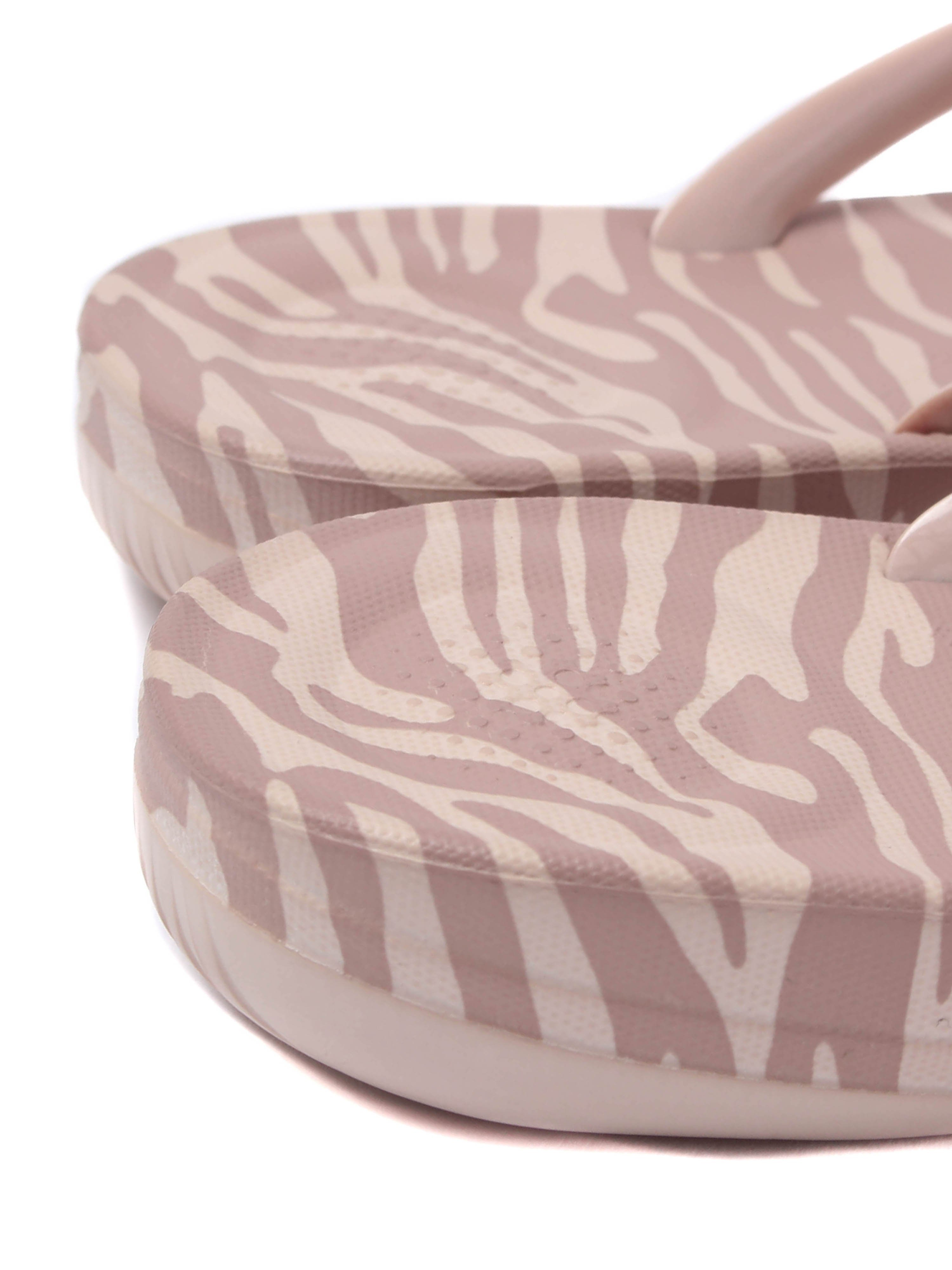 FitFlop Women's IQushion Ergonomic Flip Flops - Nude Tiger Print