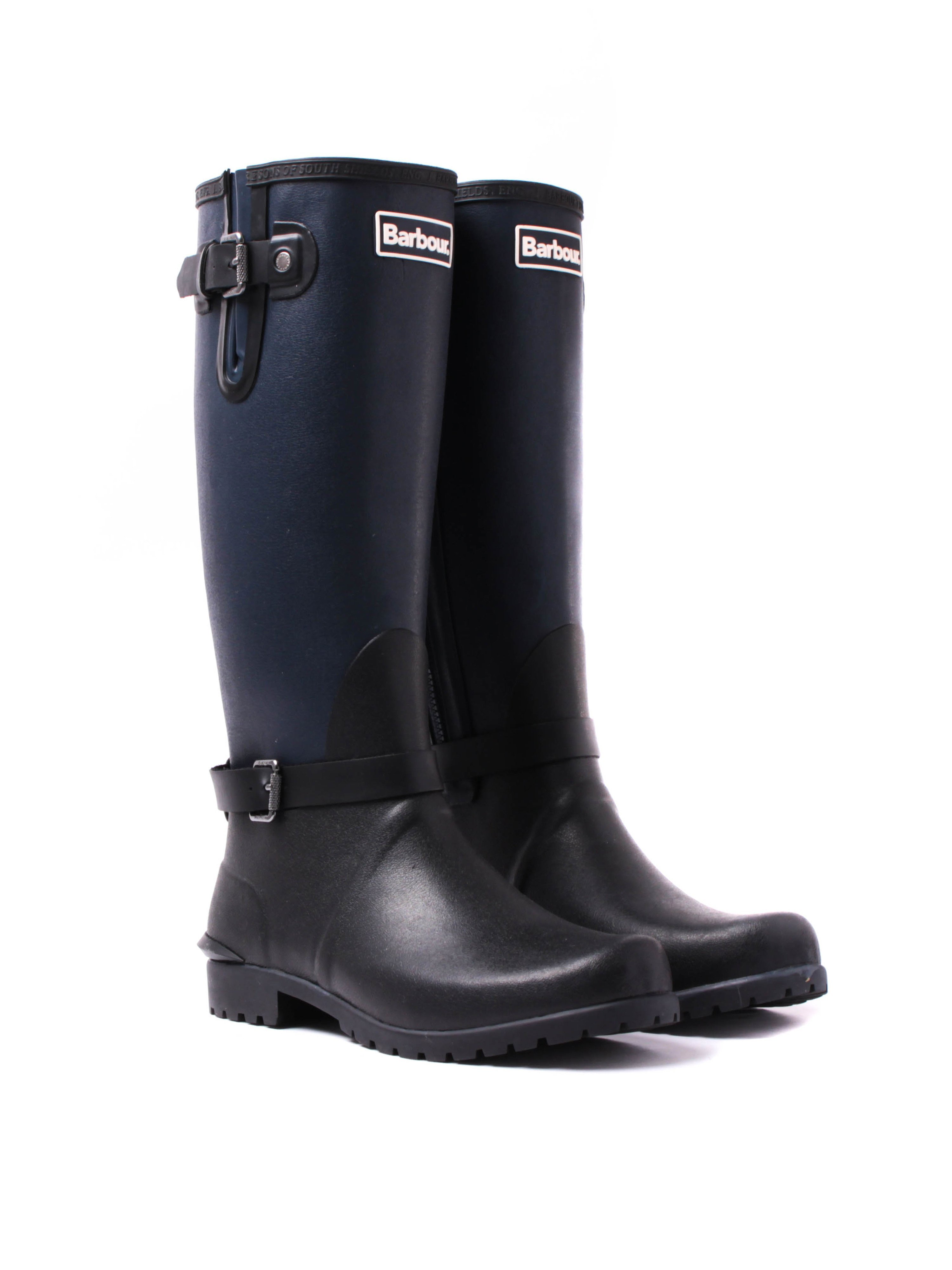 Barbour Women's Cleveland Motorbike Style Knee High Wellington Boots - Navy & Black
