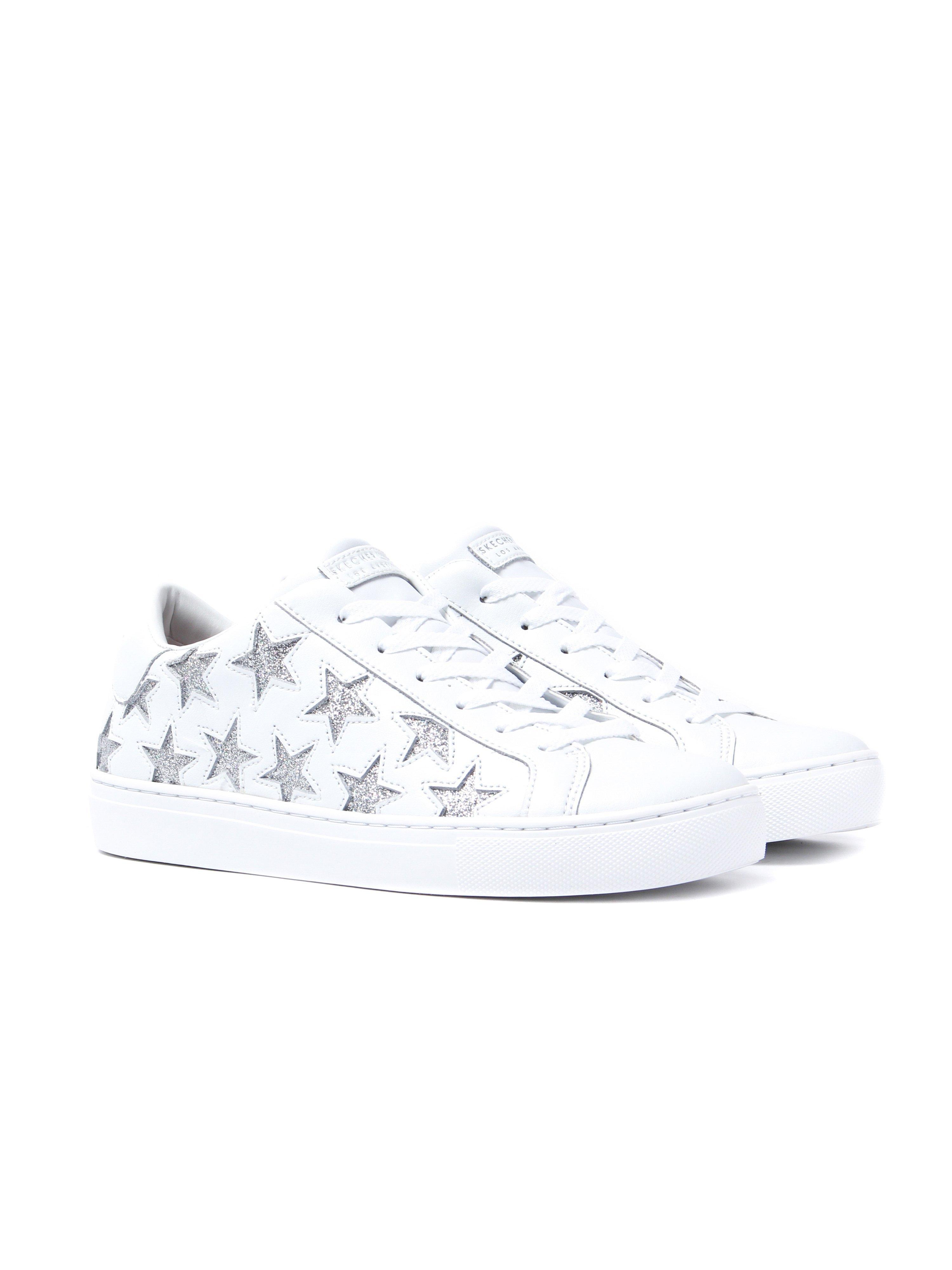 Skechers Women's Side Street Star Side Trainers - White/Silver Leather