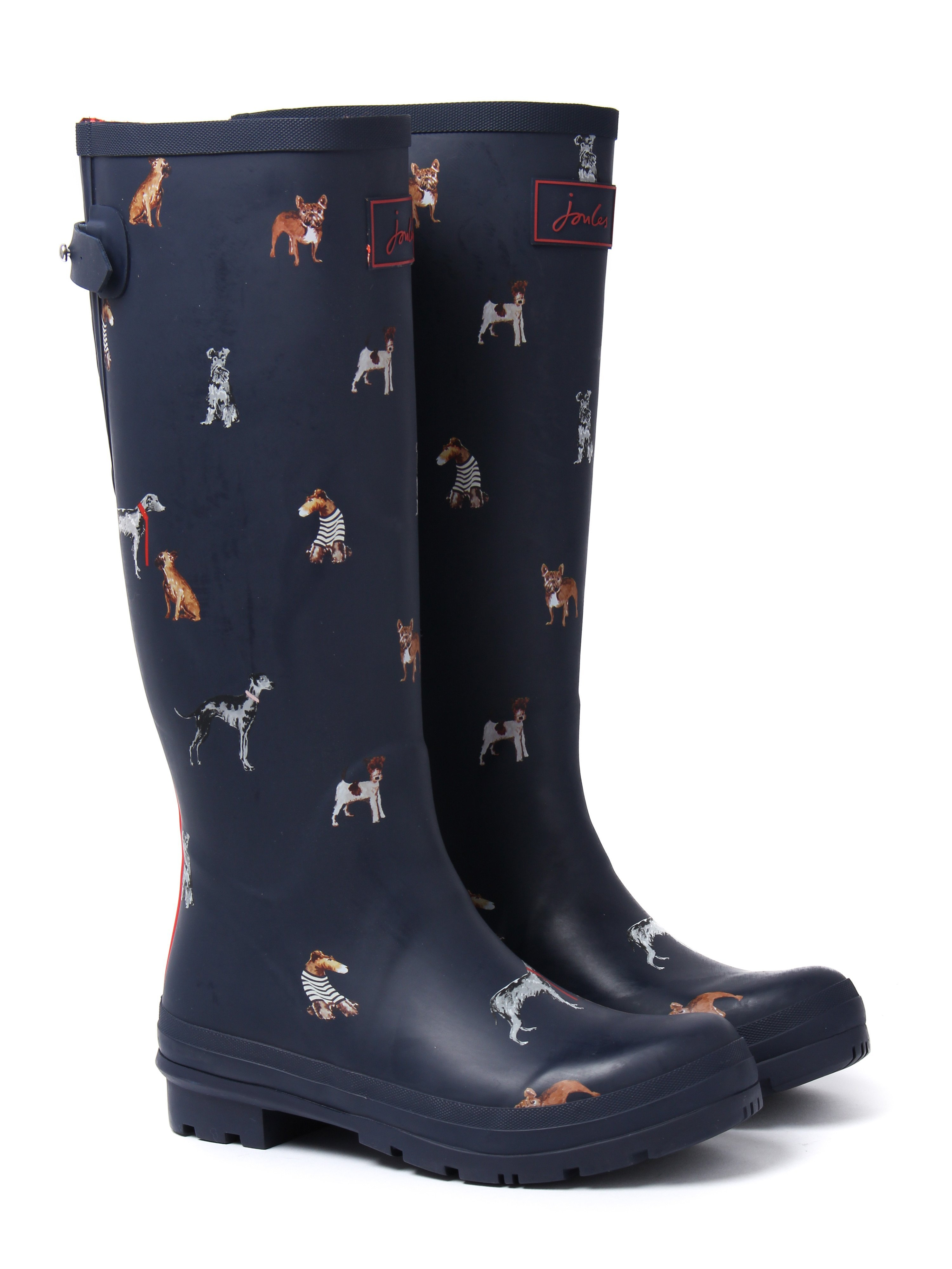 Joules Women's Adjusta Dog Rubber Wellington Boots - French Navy