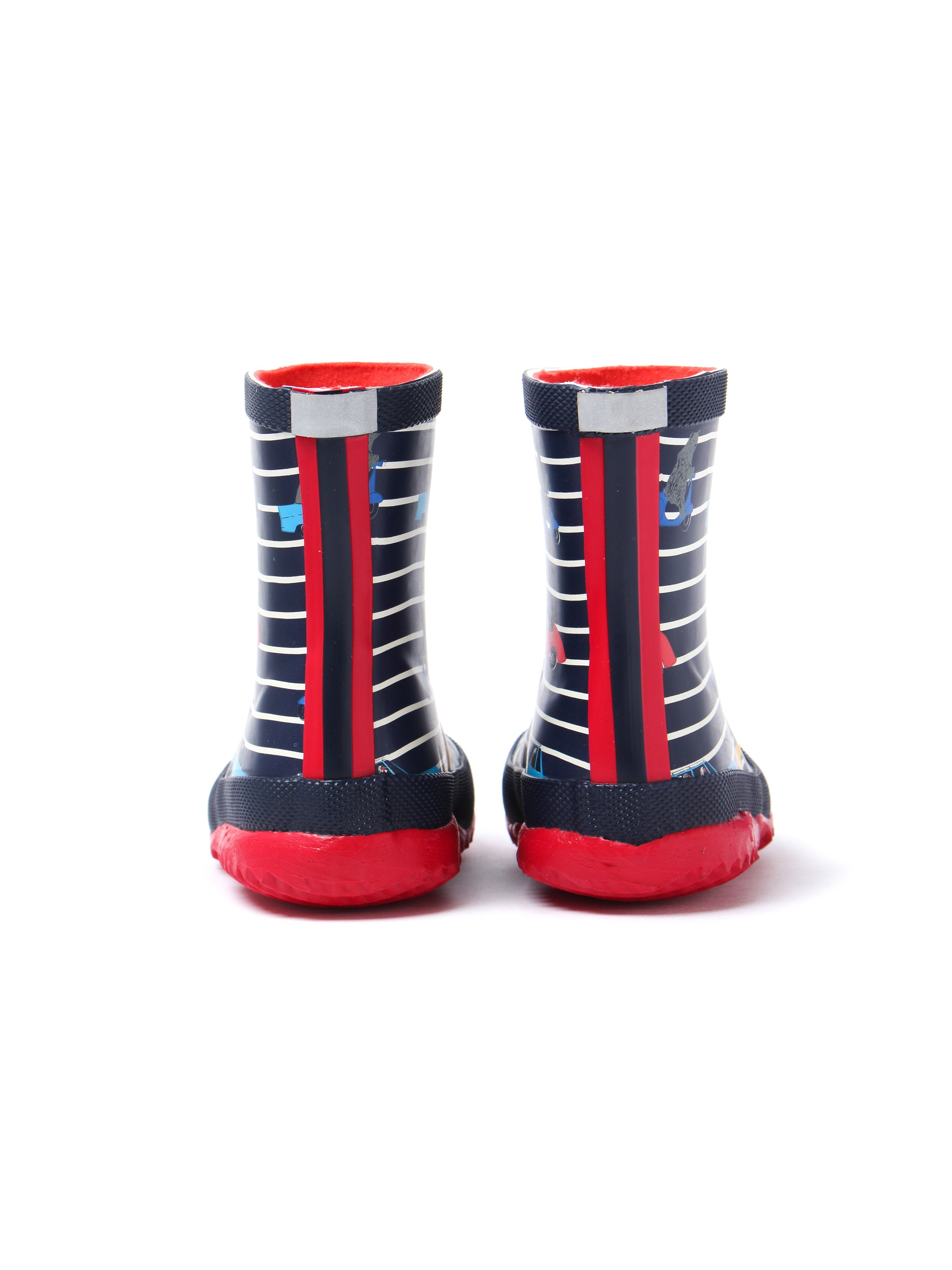 Joules Infant Car Printed Navy Stripe Rubber Wellington Boots