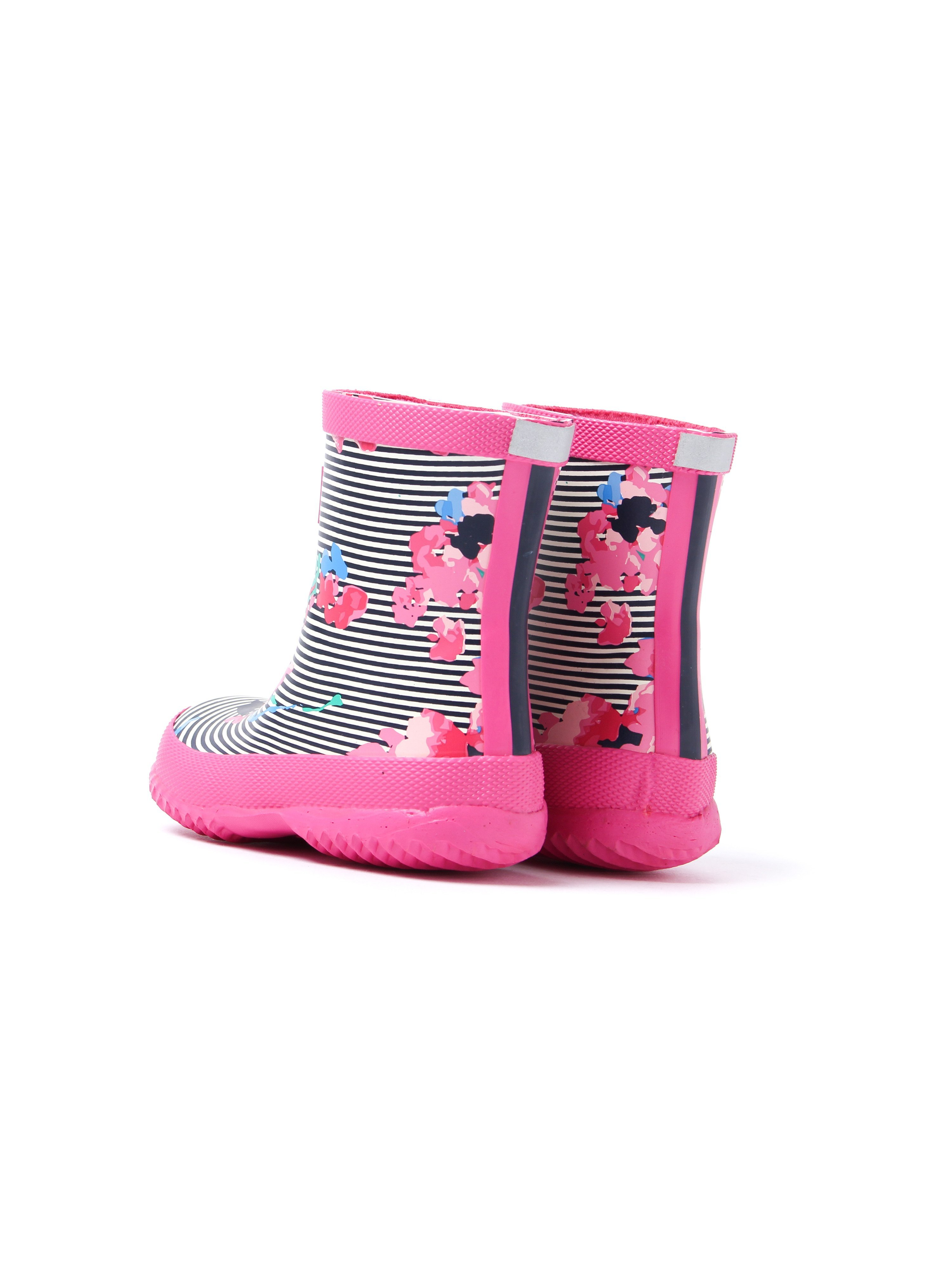 Joules Infant Pink Floral Stripe Printed Rubber Wellington Boots