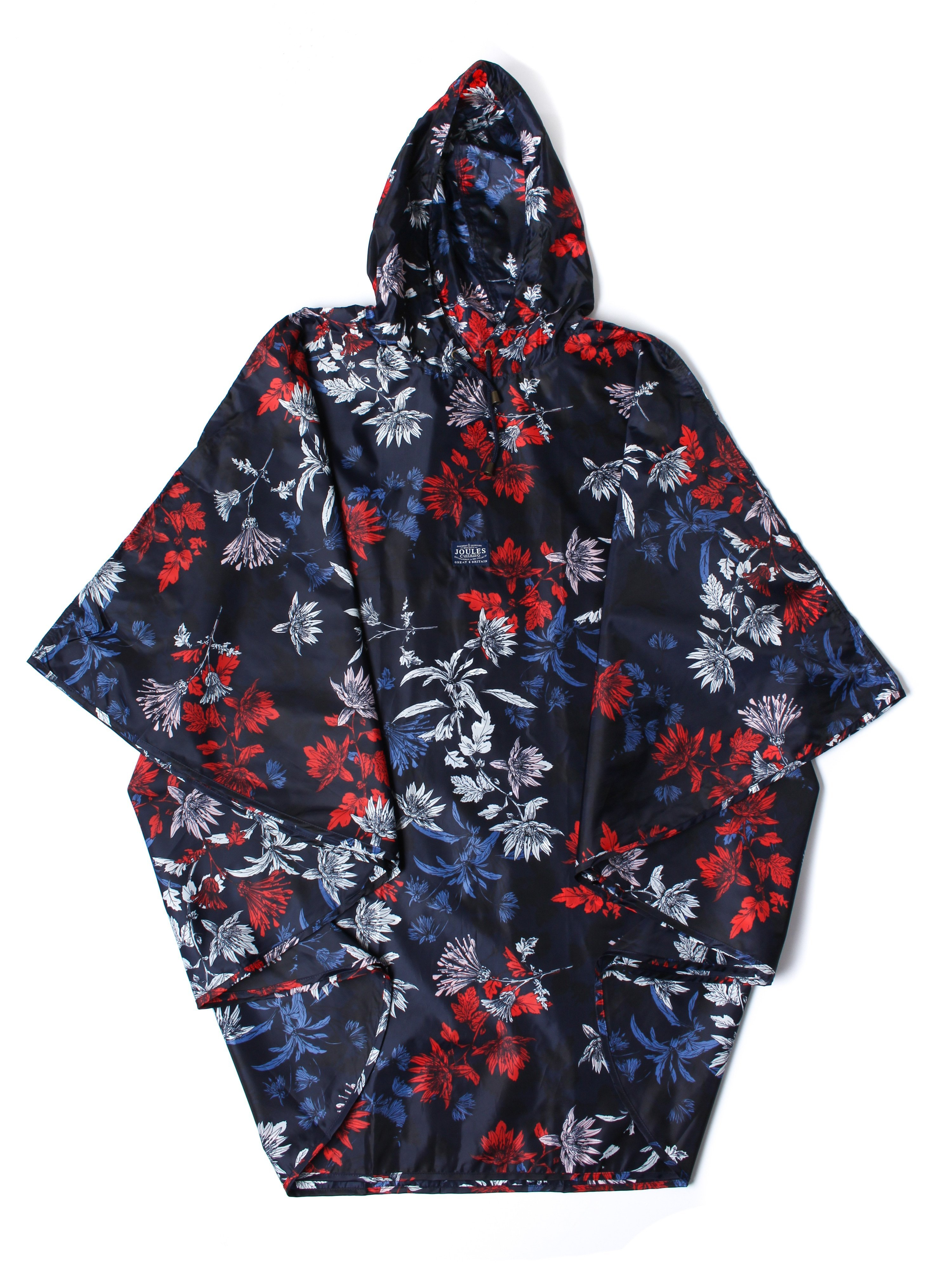 Joules Women's Rain Pack-Away Poncho - French Navy Floral