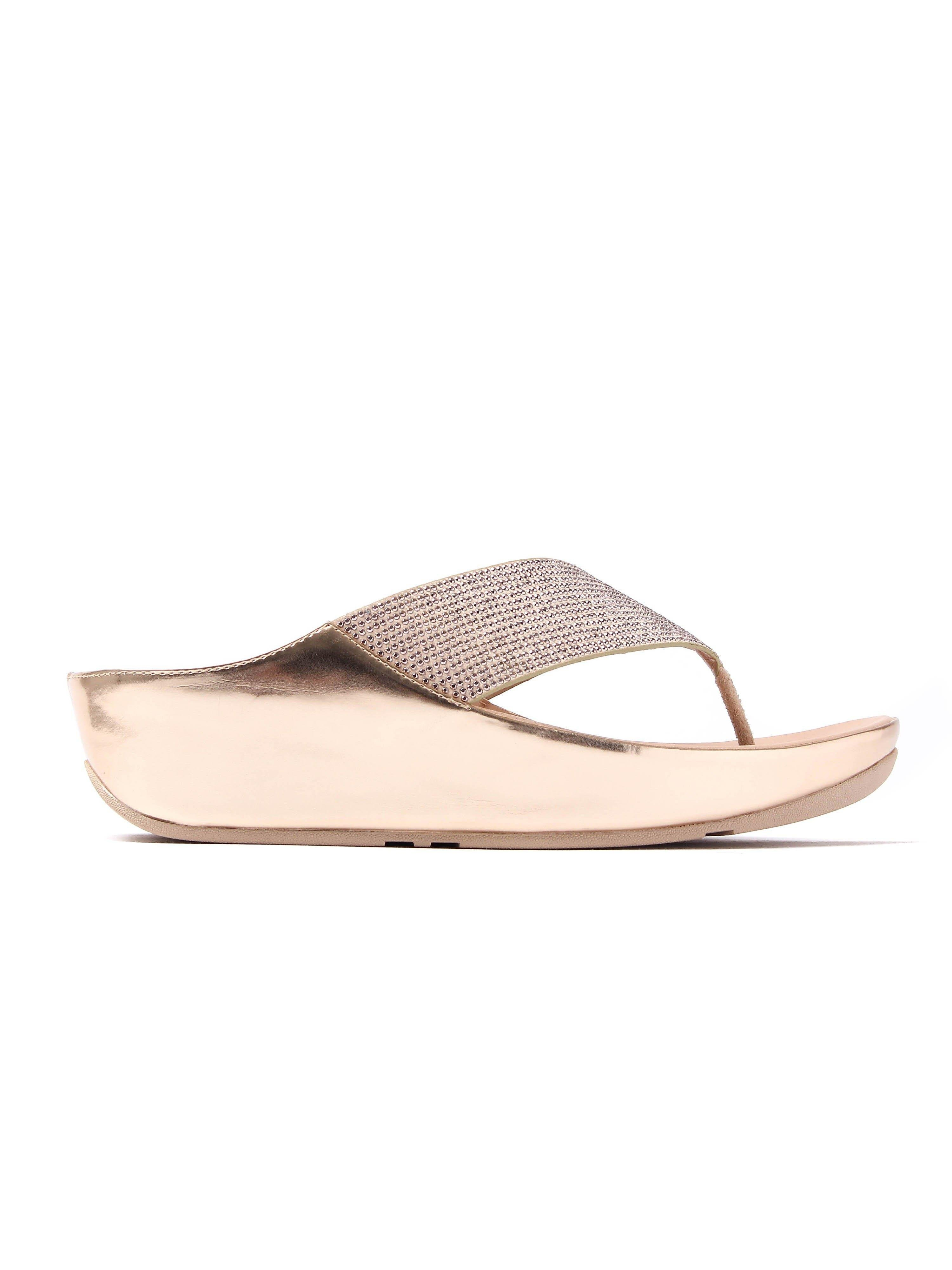 FitFlop Women's Crystall Toe-Post Slip On Sandals - Rose Gold