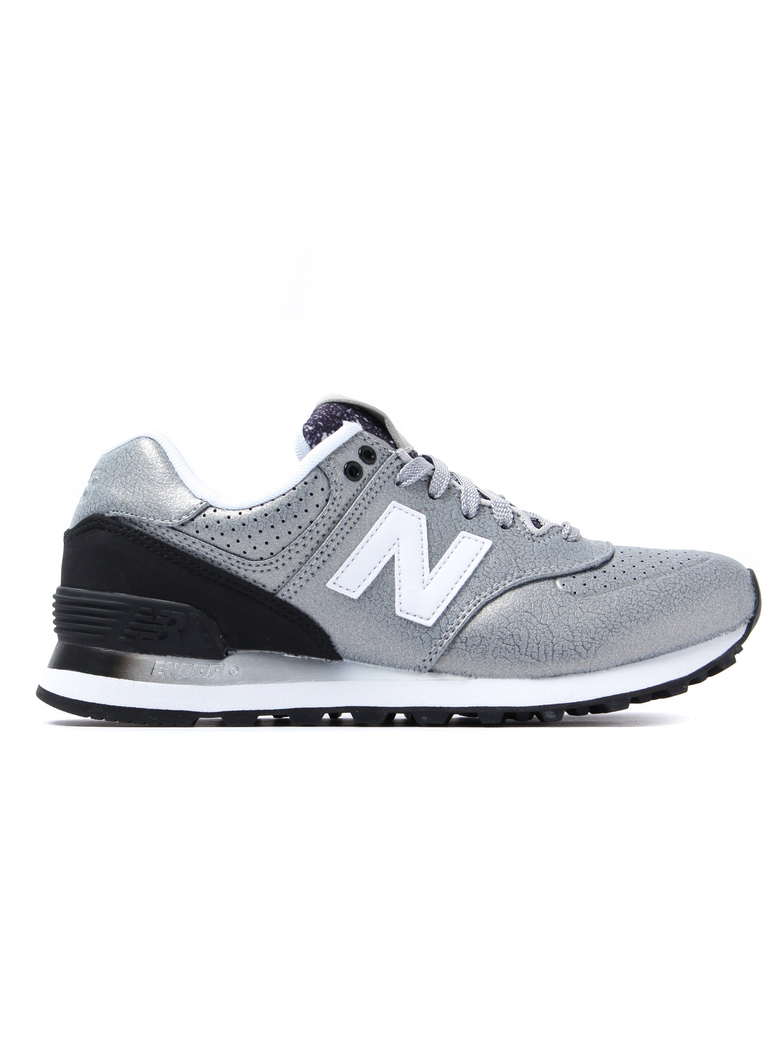 New Balance Women's 574 Low Top Trainers - Silver Leather
