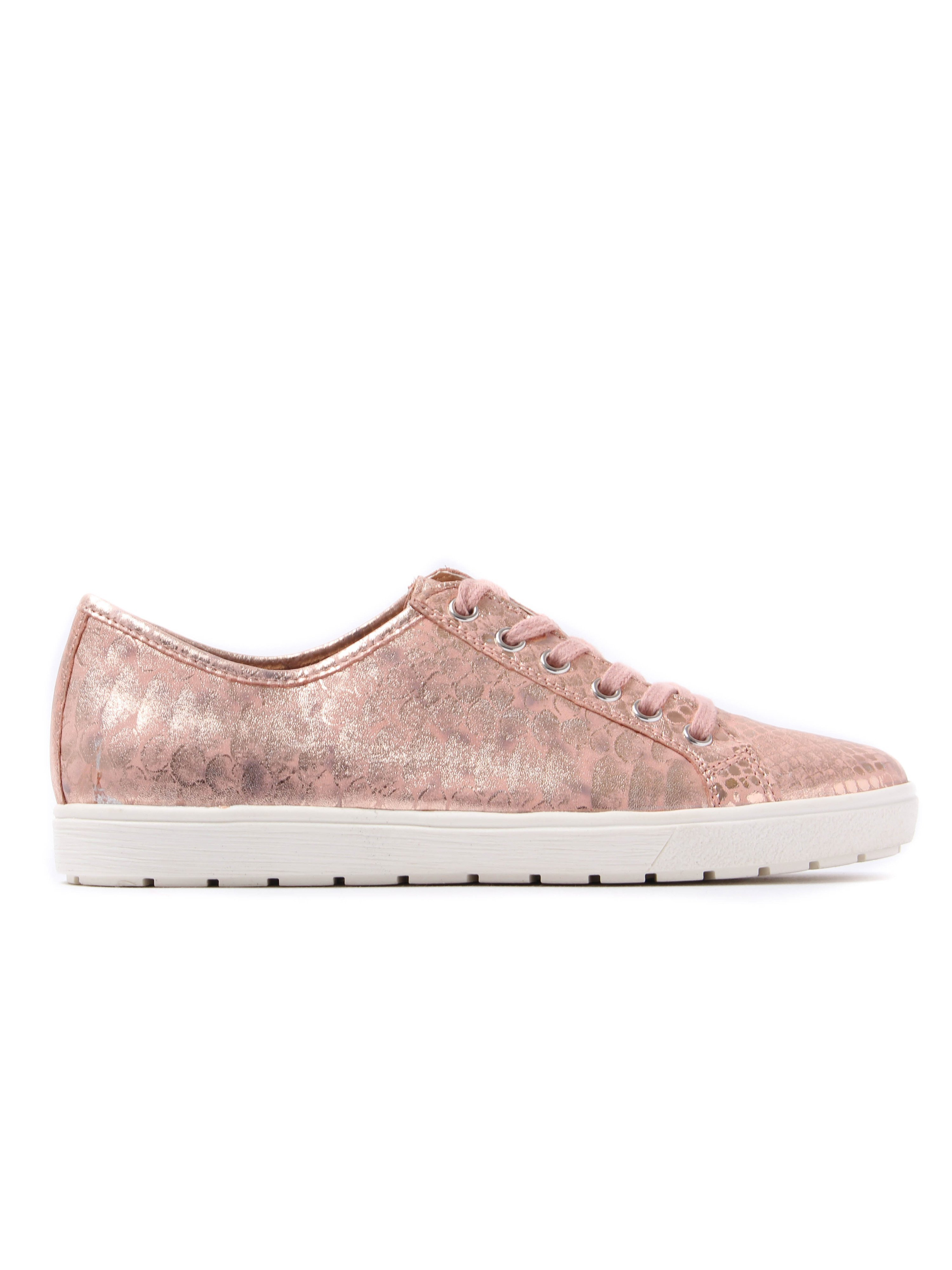 Caprice Women's Snake Effect Leather Trainers Rose Metallic