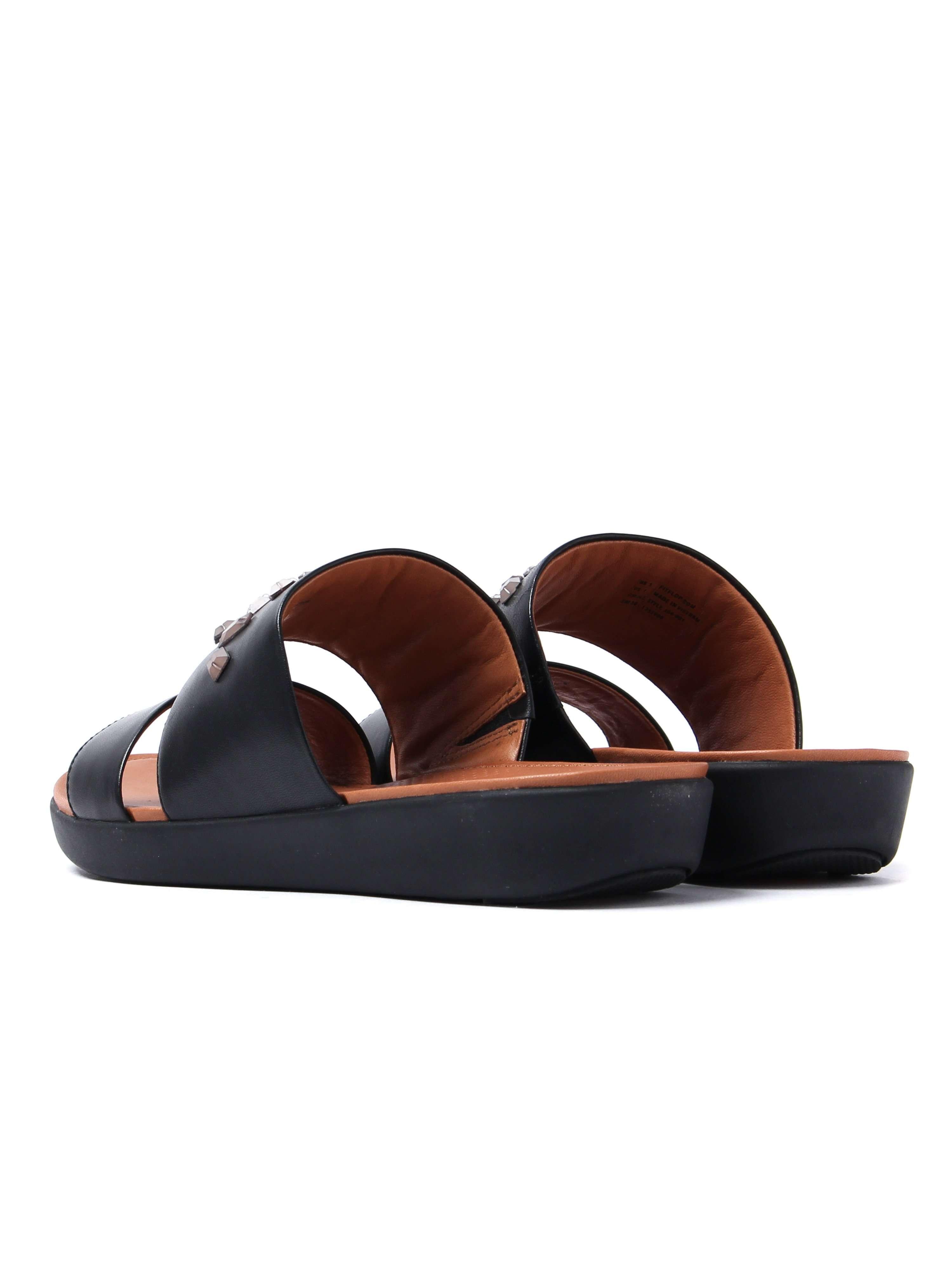 FitFlop Women's Delta Leather Crystal Slide Sandals - Black