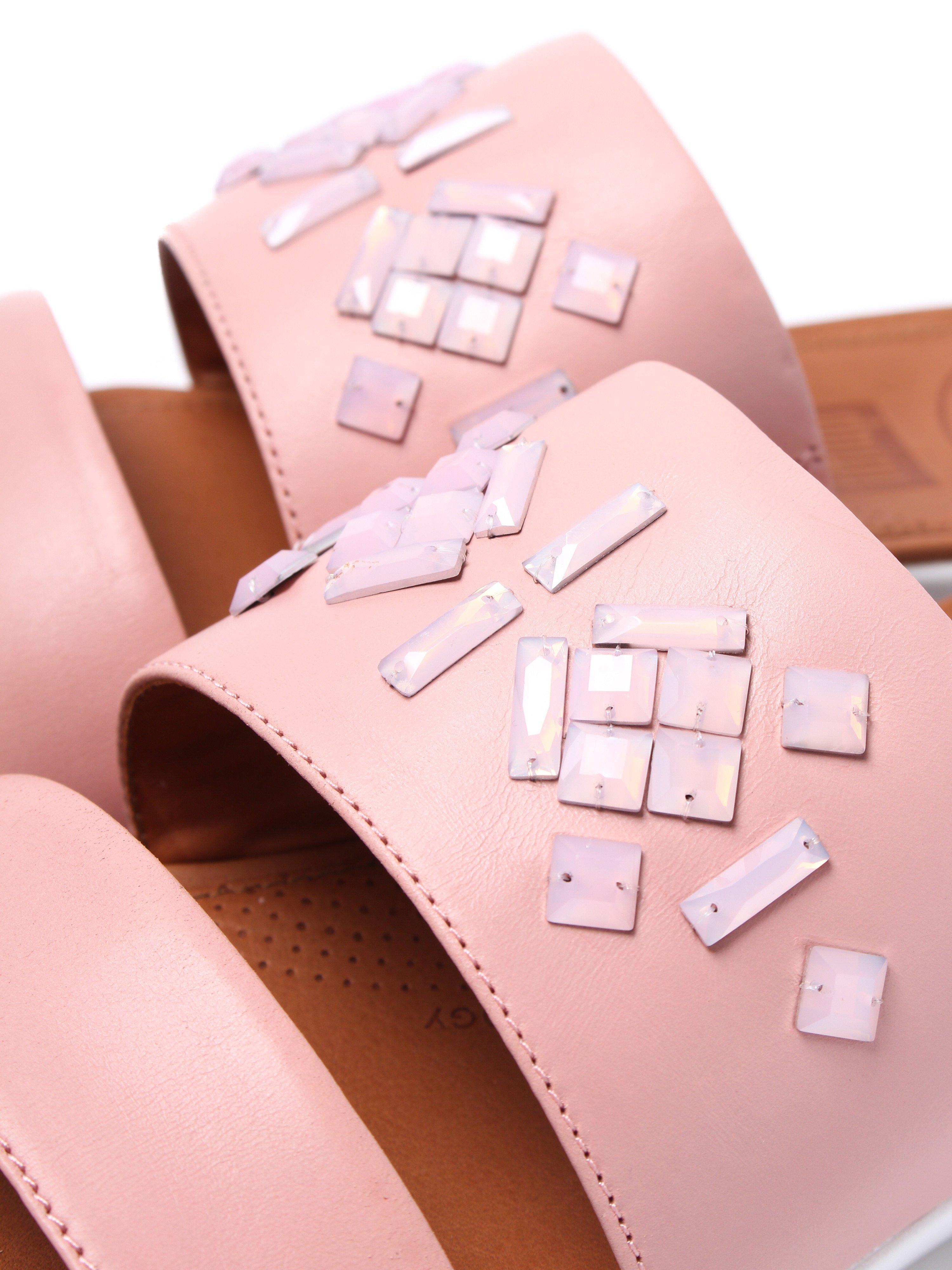 FitFlop Women's Delta Leather Crystal Slide Sandals - Dusky Pink
