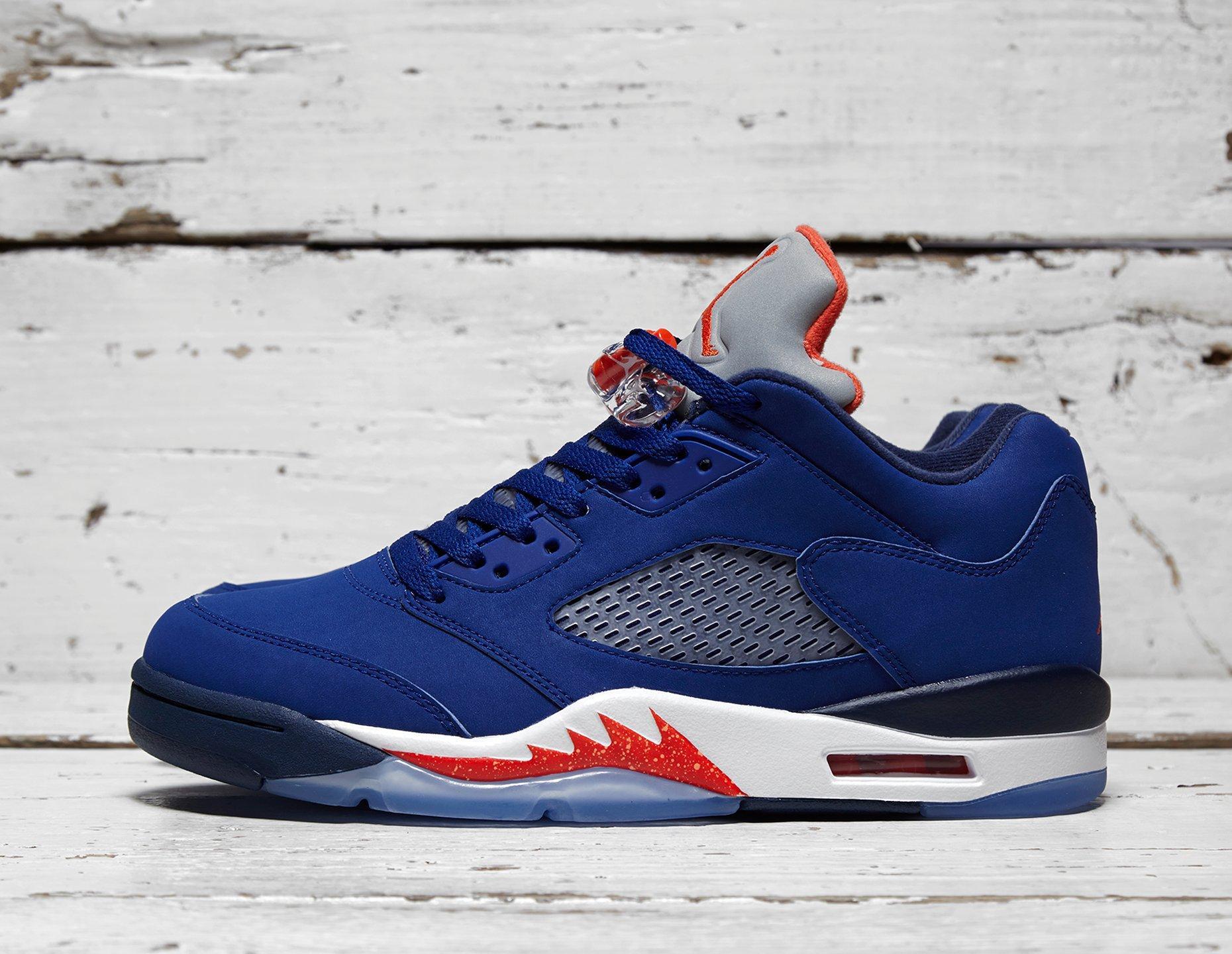 Mens Jordan 5 Low 'Knicks' - Blue/Orange/White, Blue/Orange/White - photo 1/1