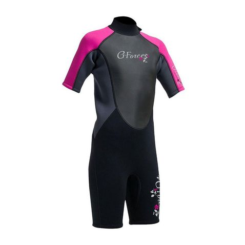 e22e176f570d Black-Pink GUL G-Force Junior Girls' 3mm FL Shorti Wetsuit ...