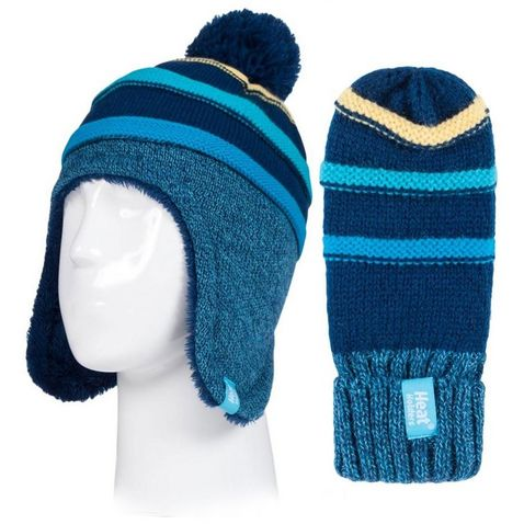 1cfbff78d7f NAVY STRIPE HEAT HOLDERS Kids  Cosy Ears Hat and Mittens (Age 3-6 ...