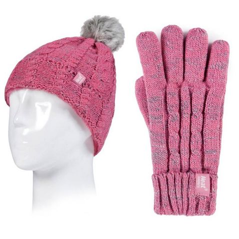 049ed5755 Coral HEAT HOLDERS Kids' Cable Turn Over Hat and Gloves (Age 11+ ...
