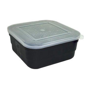 Black FLADEN Black Square Plastic Baitbox (2.5 pint)