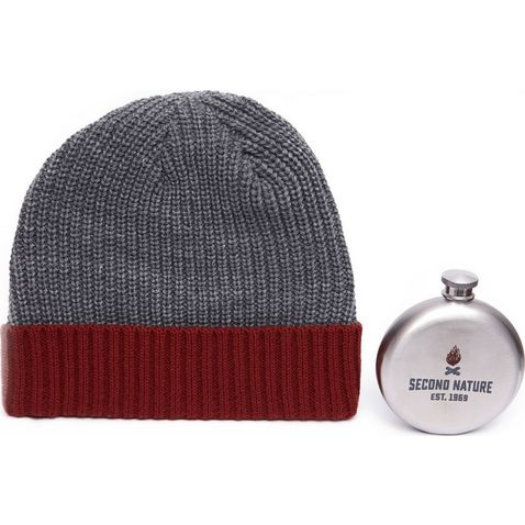 2489002f8f72a GREY RED HANDY HEROES Knitted Hat and Hip Flask Gift Set ...