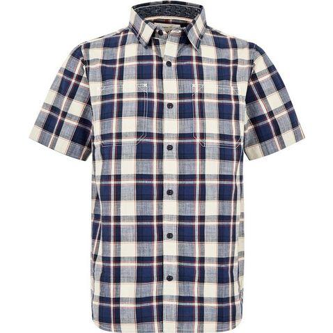 304822657 BLUE INDIGO WEIRD FISH Men's Clane Slub Check Short Sleeve Shirt ...
