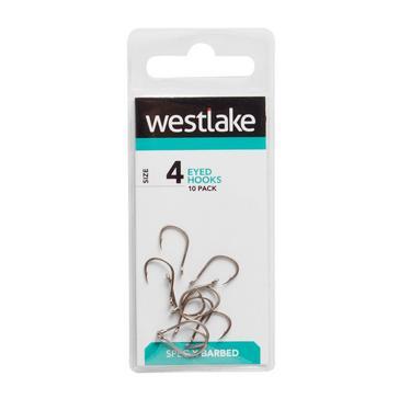 Silver Westlake Barbed Eyed Hooks (Size 4)