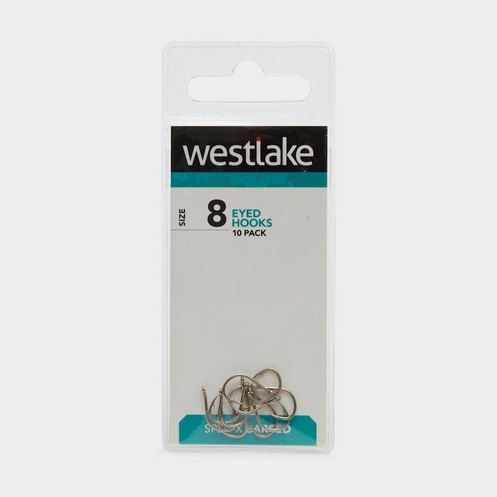 Silver Westlake Barbed Eyed Hooks (Size 8) image 1